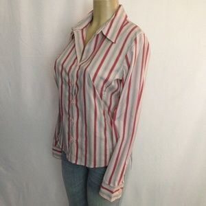 Old Navy Top M Stripe Easy Fit Stretch Button Up